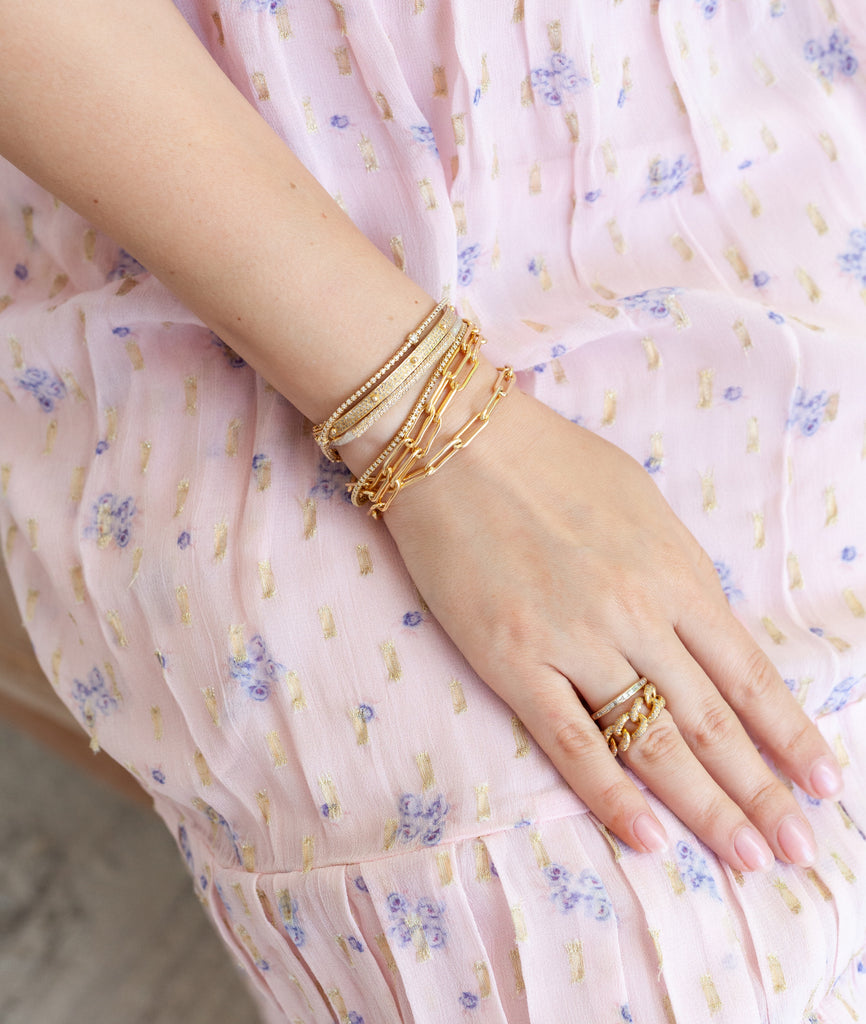 Yellow Gold Filled Chain Triple Wrap Bracelet