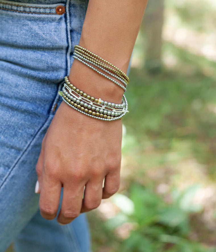 Two Toned Hematite and Pyrite Triple Wrap Bracelet