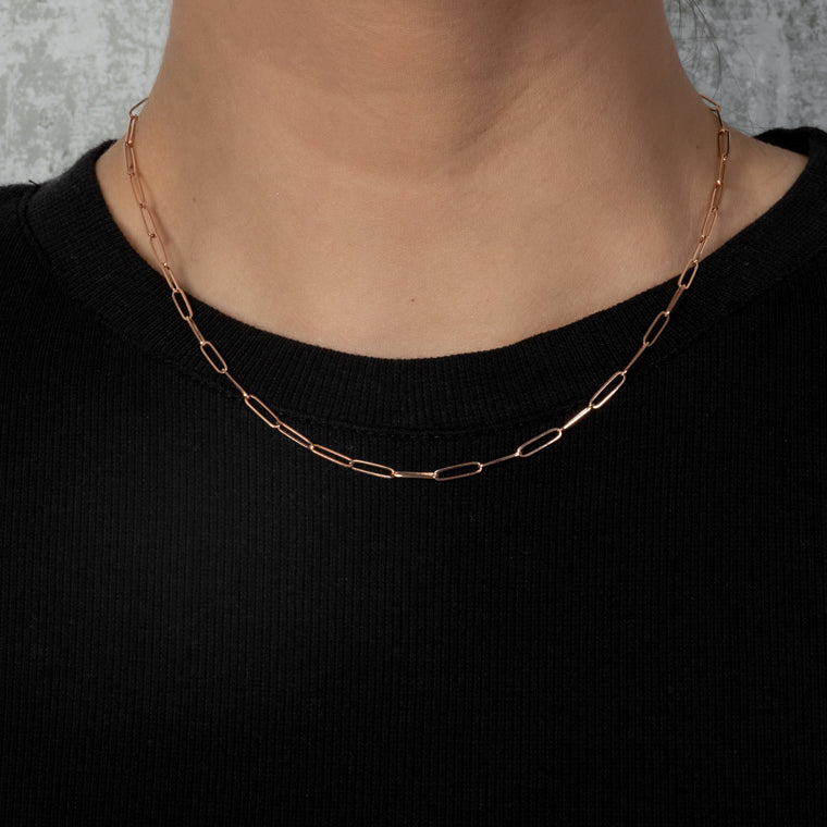 14 Karat Rose Gold Solid Itsy Paperclip Chain