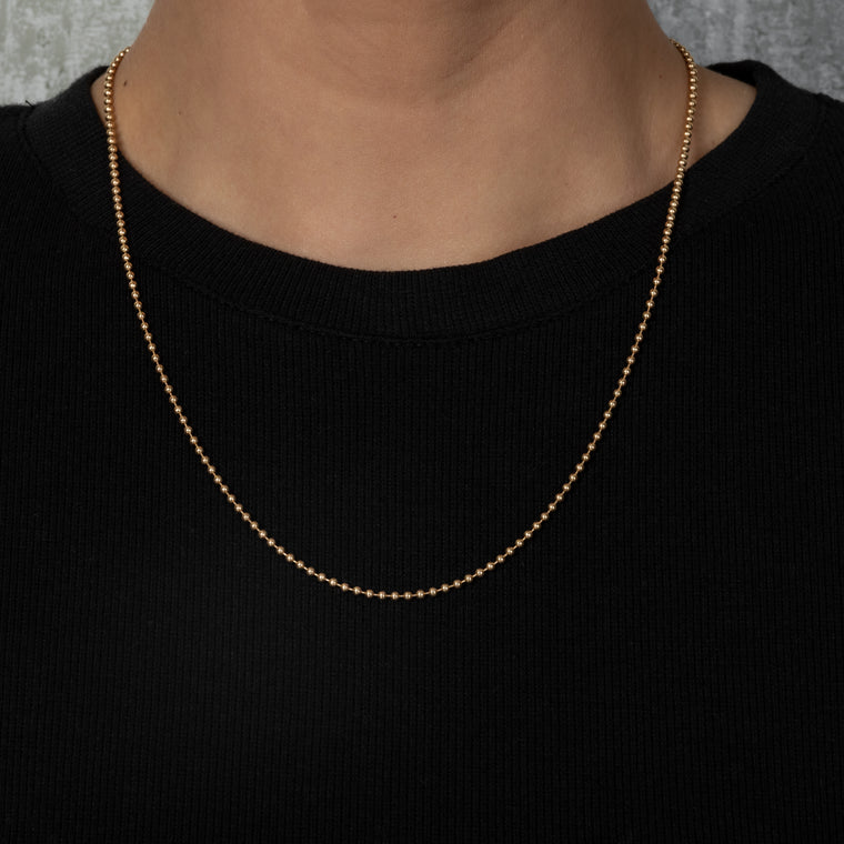 14 Karat Yellow Gold Ball Chain Necklace
