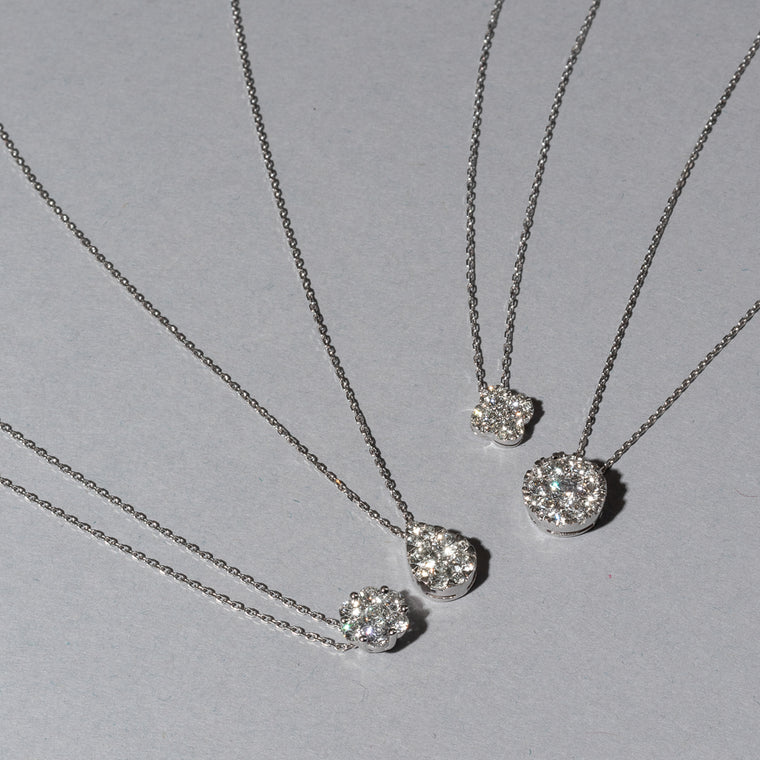 Pave Diamond Slide Clover Necklace
