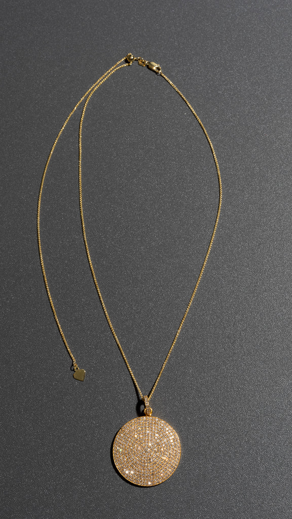 Yellow Gold Jumbo Diamond Disk Pendant Necklace