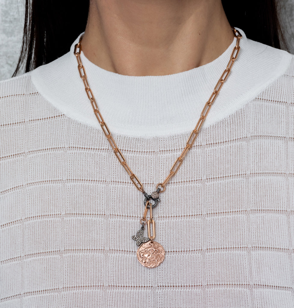 Rose Gold Filled Diamond Butterfly and Lion Coin Chain Pendant Necklace