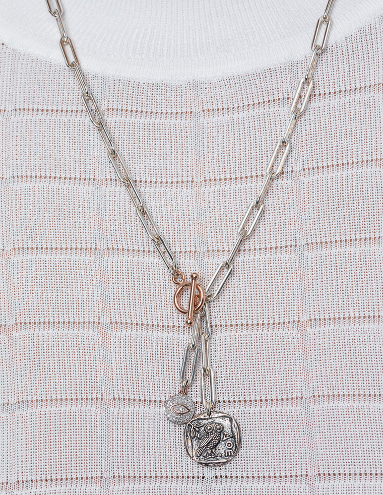 Sterling Silver Greek Owl Coin and Rose Diamond Eye Chain Pendant Short Necklace