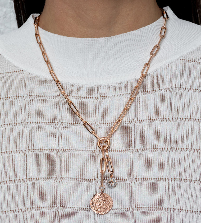 Rose Gold Filled Diamond Two Tone Sunburst and Lion Coin Chain Pendant Necklace