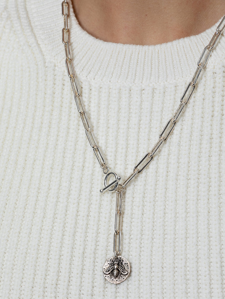 Sterling Silver Bee Coin and Chain Pendant Short Necklace