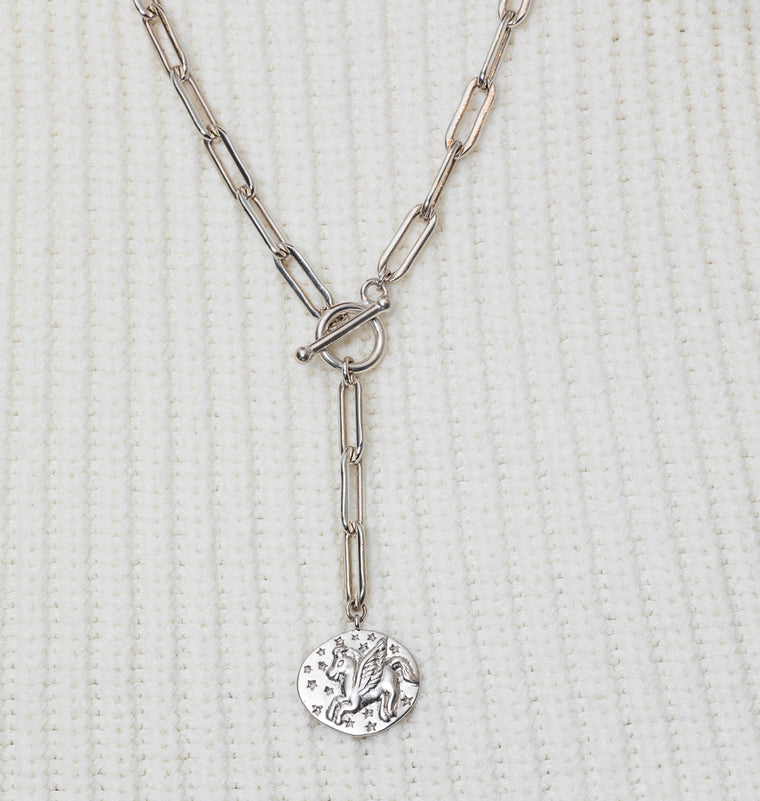 Sterling Silver Unicorn Coin and Chain Pendant Short Necklace