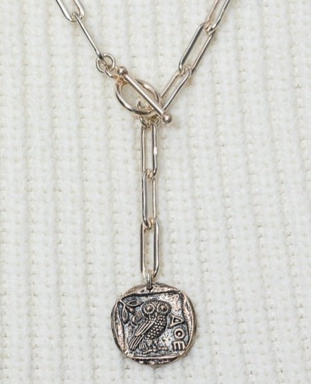 Sterling Silver Greek Owl Coin and Chain Pendant Short Necklace