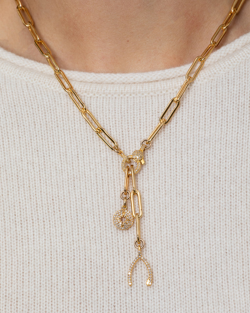 Yellow Gold Filled Chain with Diamond Wishbone and Sunburst Short Pendant Necklace