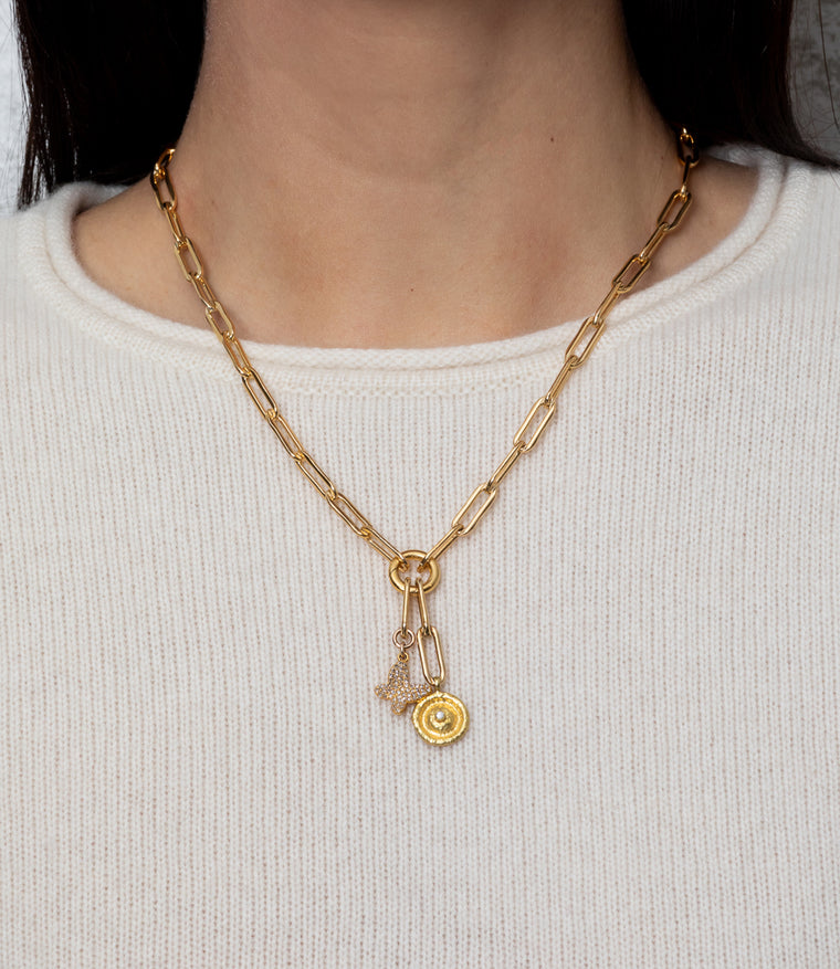 Yellow Gold Filled Chain with Diamond Butterfly and Hammered Eye Short Pendant Necklace