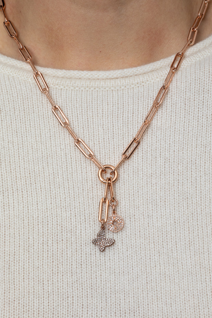 Rose Gold Filled Chain with Rose Gold Diamond Butterfly and Sunburst Pendant Necklace