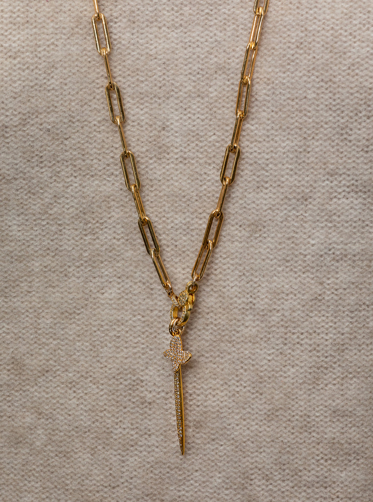 Yellow Gold Filled Chain with Diamond Butterfly and Dagger Long Pendant Necklace