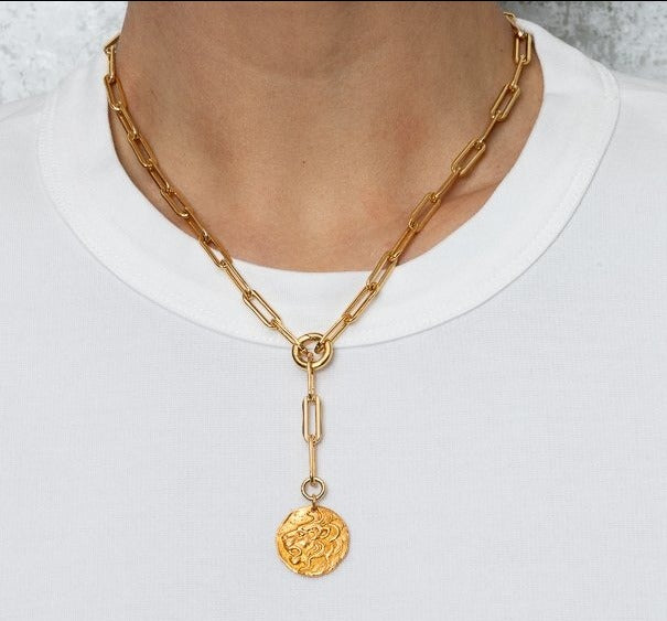 Yellow Gold Filled Chain with Lion Short Pendant Necklace