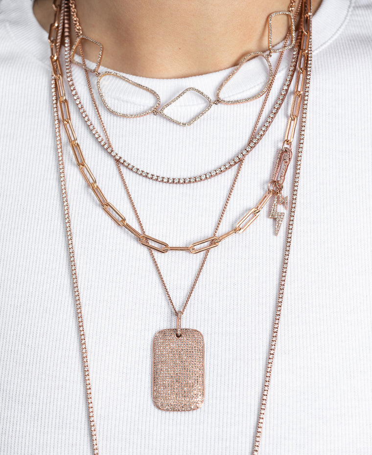 Rose Gold Jumbo Diamond Dog Tag Necklace