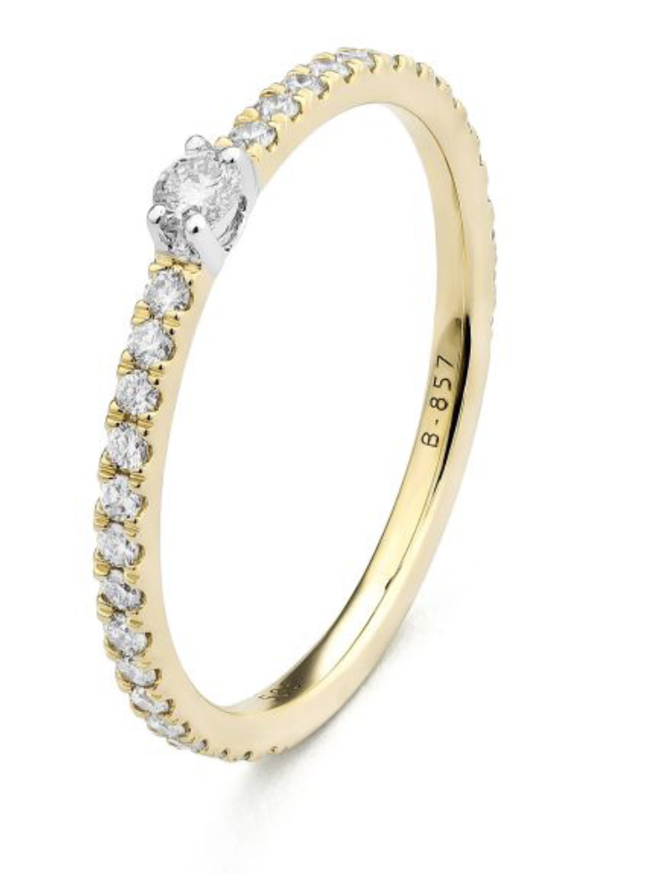 Yellow Gold Diamond Band Ring Size 6.5