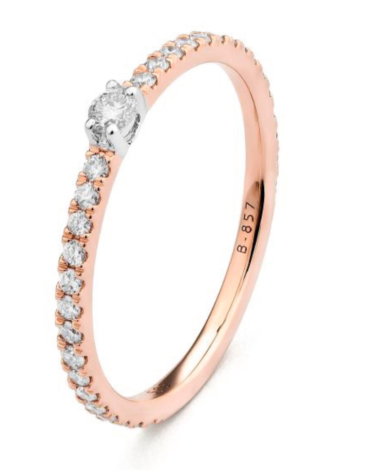 Rose Gold Diamond Band Ring Size 6.5