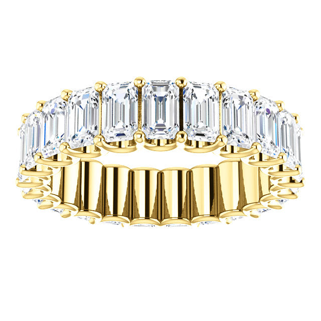 Cubic Zirconia Medium Cut Yellow Gold Eternity Ring