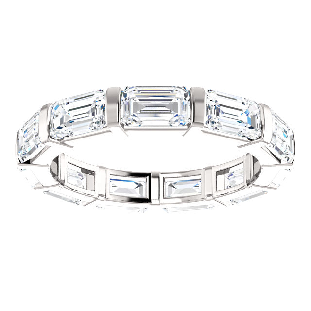 Cubic Zirconia Medium Cut East-West White Gold Eternity Ring