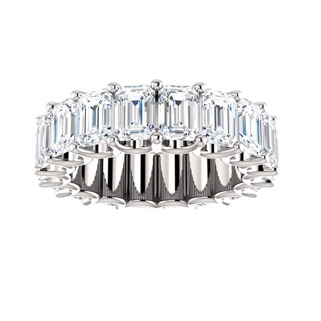 Cubic Zirconia Large Cut White Gold Eternity Ring