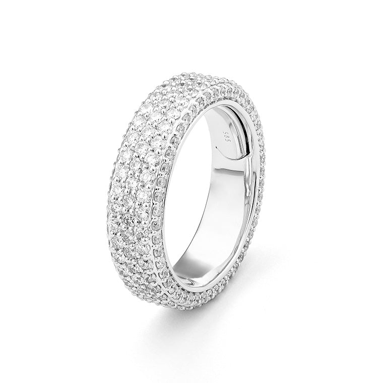 White Gold Flat Top Diamond Eternity Band Size 6.5
