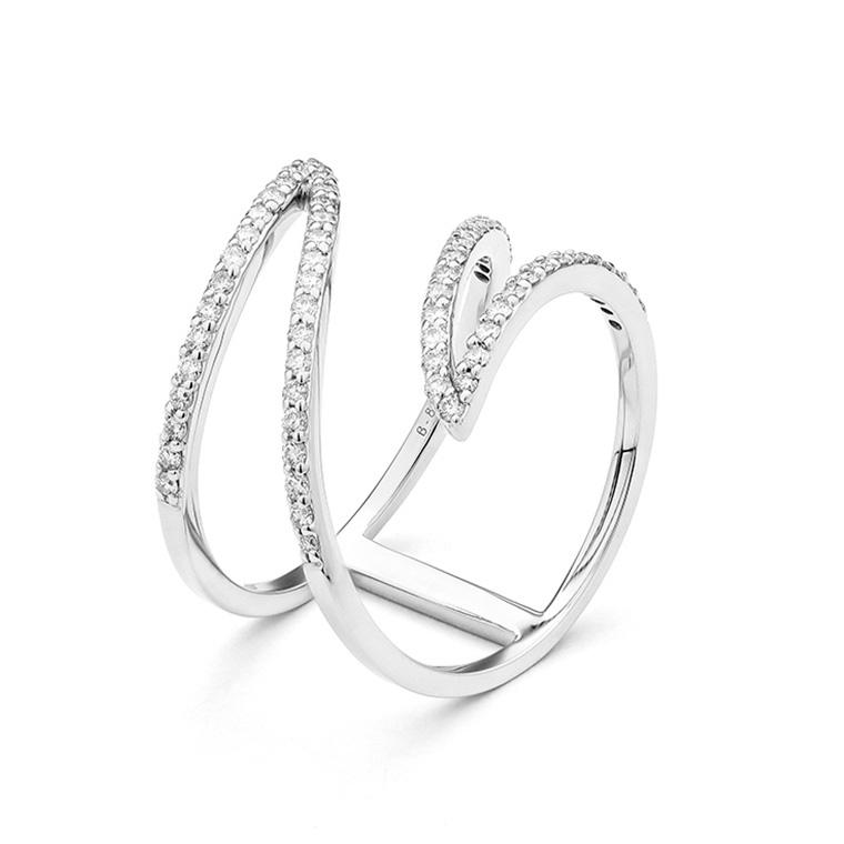 White Gold Free Form Diamond Ring