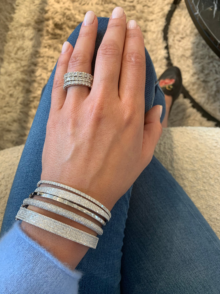 White Gold and Diamond Curved Cuff Bracelet