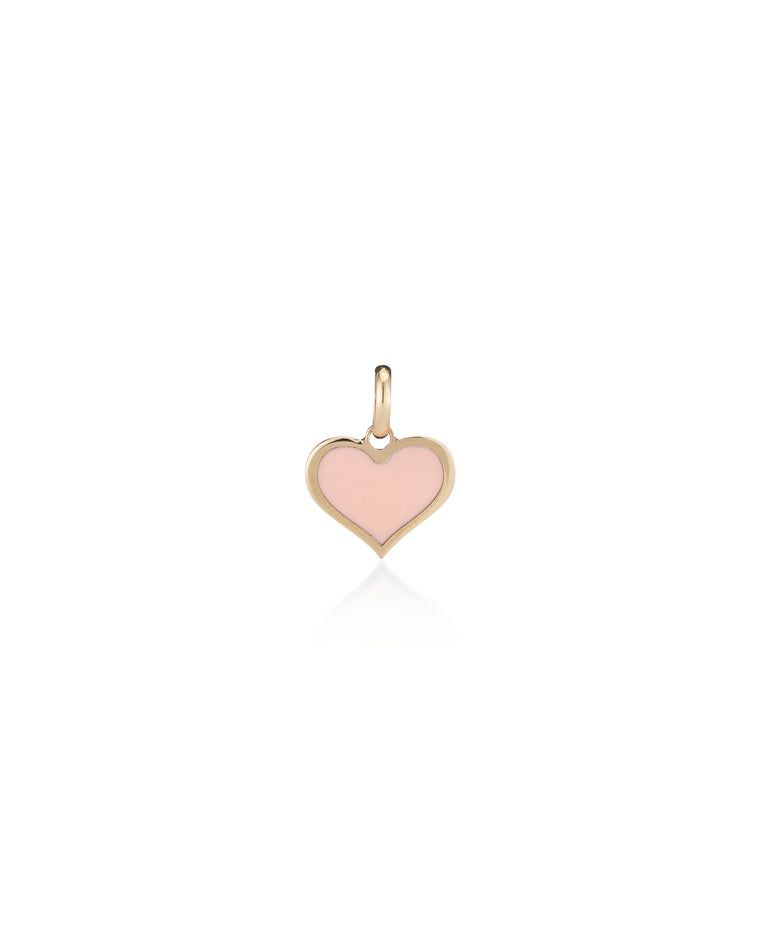 14 Karat Yellow Gold and Pink Enamel Heart Charm