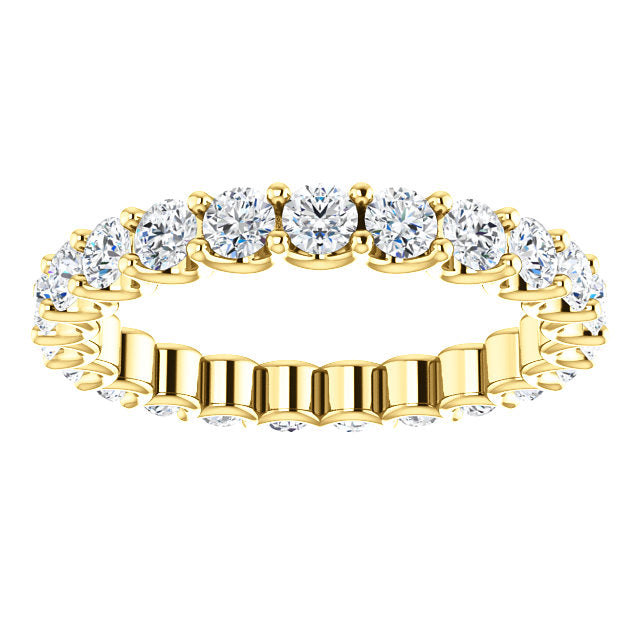 Cubic Zirconia Round Cut Yellow Gold Ring