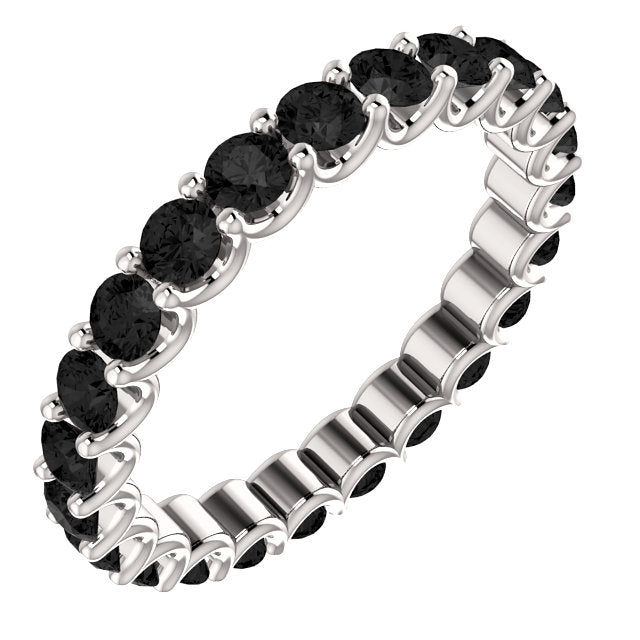 Black Onyx Round Cut White Gold Ring