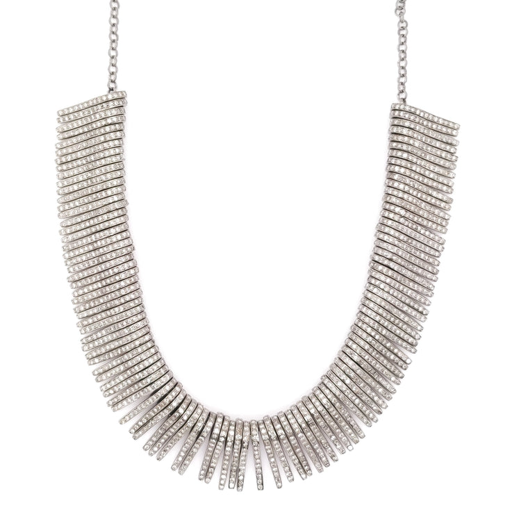 Pave Diamond Bar Chain Necklace