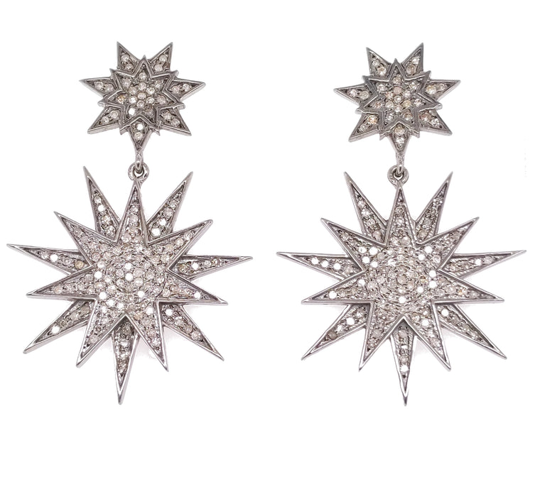 Blackened Silver and Diamond Shinning Star Earrings