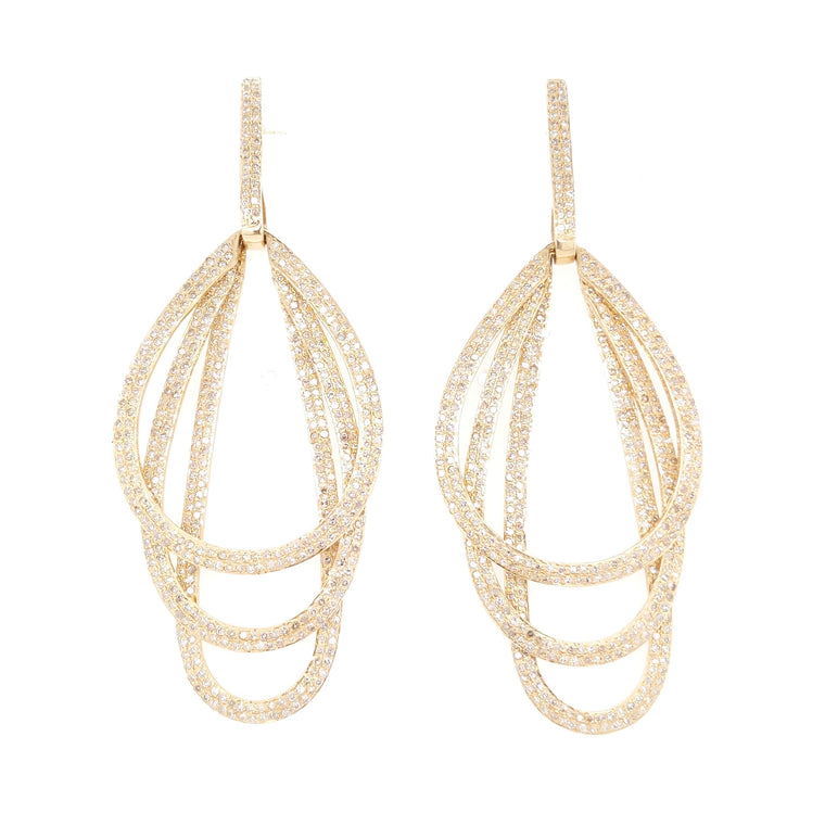 Yellow Gold and Diamond Triple Drop Chandelier Earrings