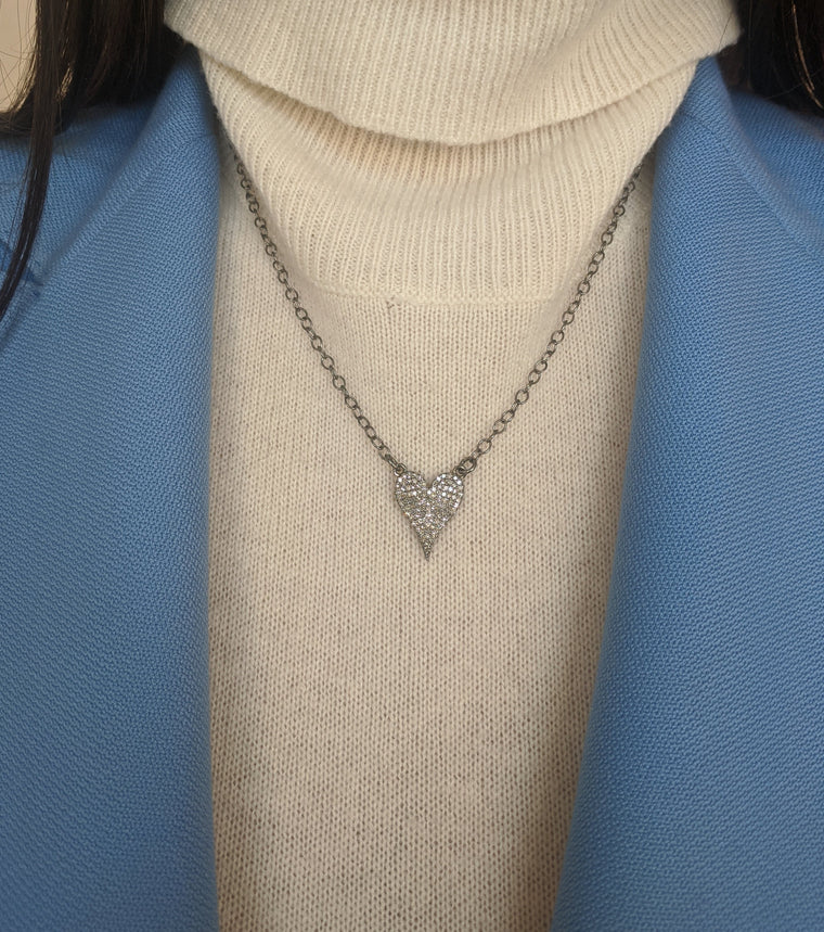 Black Rhodium and Diamond Small Heart Necklace