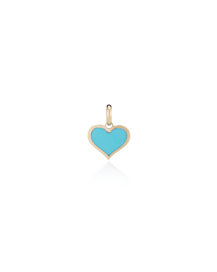 14 Karat Yellow Gold and Turquoise Enamel Heart Charm