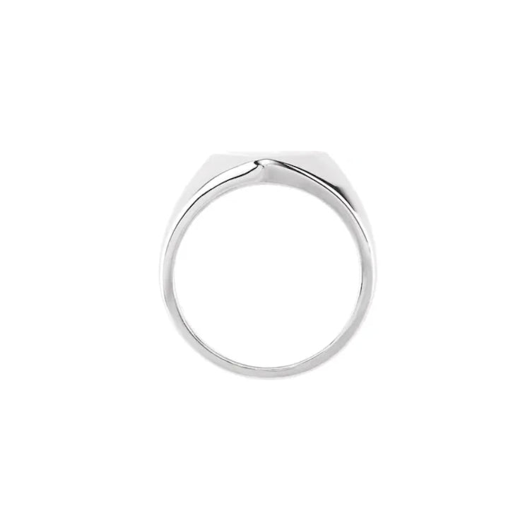 White Gold Heart Signet Ring