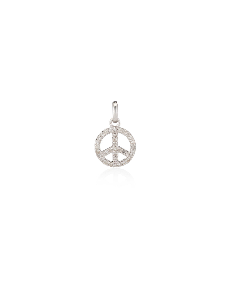 White Gold Diamond Peace Sign Charm