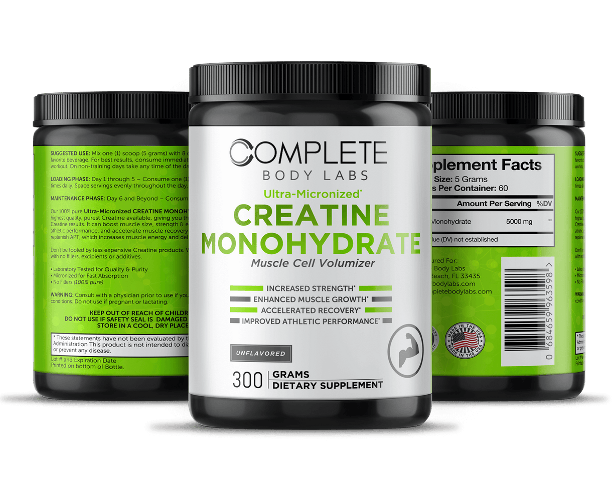 Ultra-Micronized CREATINE MONOHYDRATE (Muscle Cell Volumizer) | Complete Body Labs | Probiotics, Nootropics, Brain Supplements, Protein Bars, Workout Supplements, Health Supplements, Omega-3 & Essential Vitamins For Men & Women