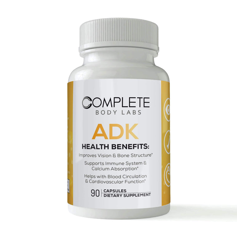 ADK (Vitamins A-D3-K2) | Complete Body Labs | Probiotics, Nootropics, Brain Supplements, Protein Bars, Workout Supplements, Health Supplements, Omega-3 & Essential Vitamins For Men & Women