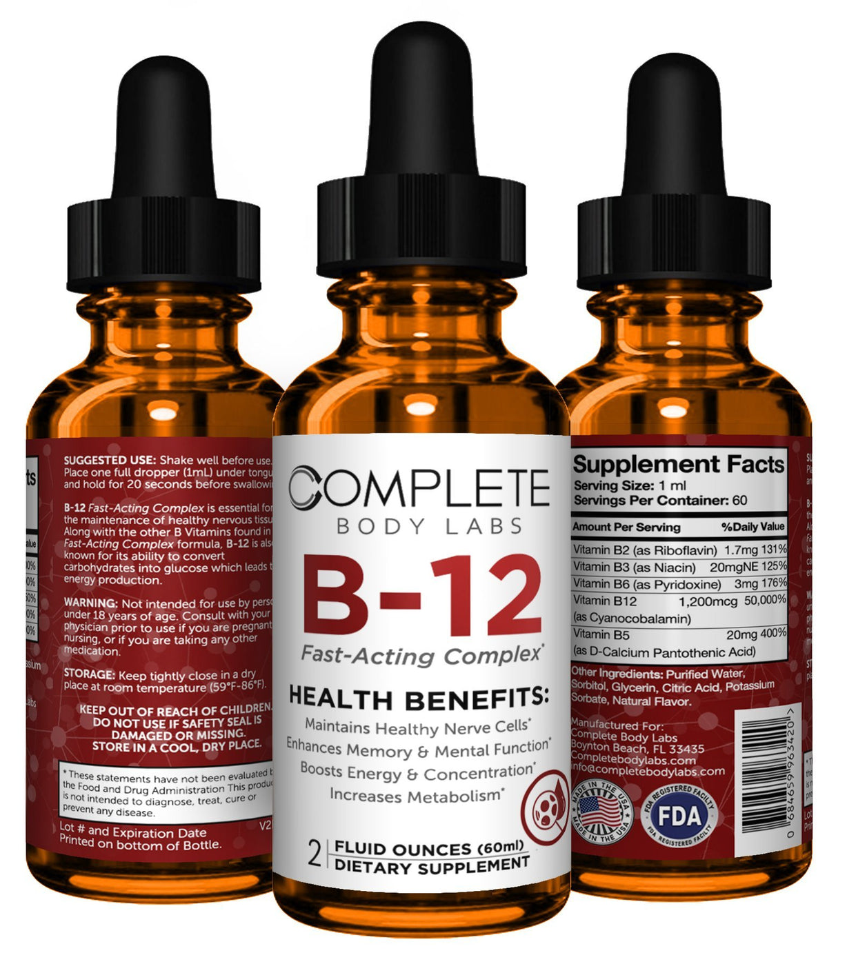 B-12 (Fast-Acting Complex) Complete Body Labs | Probiotics, Nootropics, Brain Supplements, Protein Bars, Workout Supplements, Health Supplements, Omega-3 & Essential Vitamins For Men & Women