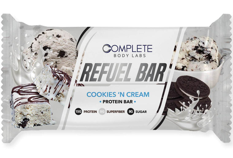 COOKIES 'N CREAM REFUEL BARS | Complete Body Labs | Probiotics, Nootropics, Brain Supplements, Protein Bars, Workout Supplements, Health Supplements, Omega-3 & Essential Vitamins For Men & Women