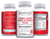 HORNY GOAT WEED EXTRACT PLUS Complete Body Labs | Probiotics, Nootropics, Brain Supplements, Protein Bars, Workout Supplements, Health Supplements, Omega-3 & Essential Vitamins For Men & Women