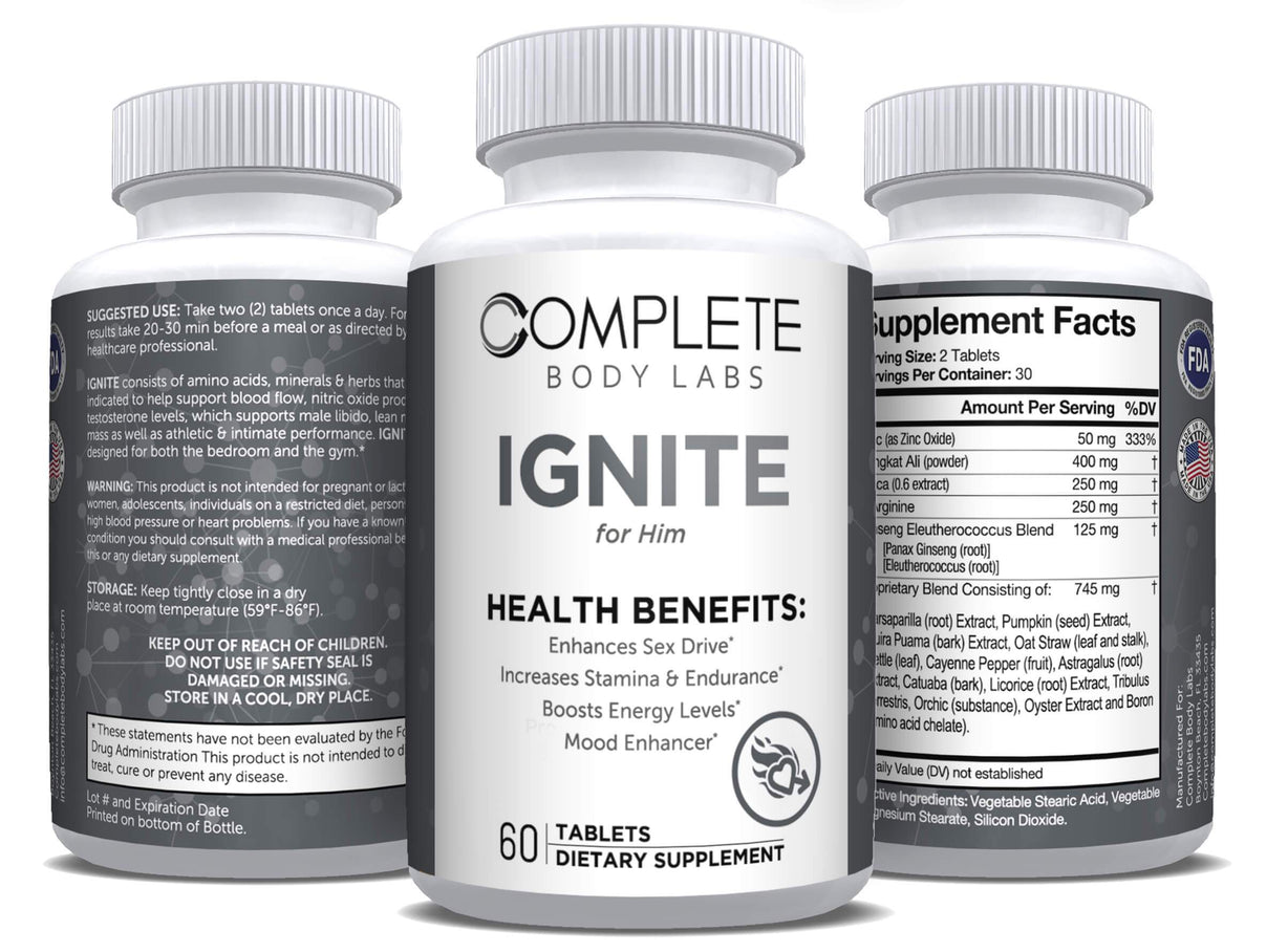 IGNITE (for Him) Complete Body Labs | Probiotics, Nootropics, Brain Supplements, Protein Bars, Workout Supplements, Health Supplements, Omega-3 & Essential Vitamins For Men & Women