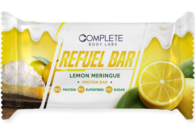 LEMON MERINGUE REFUEL BARS | Complete Body Labs | Probiotics, Nootropics, Brain Supplements, Protein Bars, Workout Supplements, Health Supplements, Omega-3 & Essential Vitamins For Men & Women