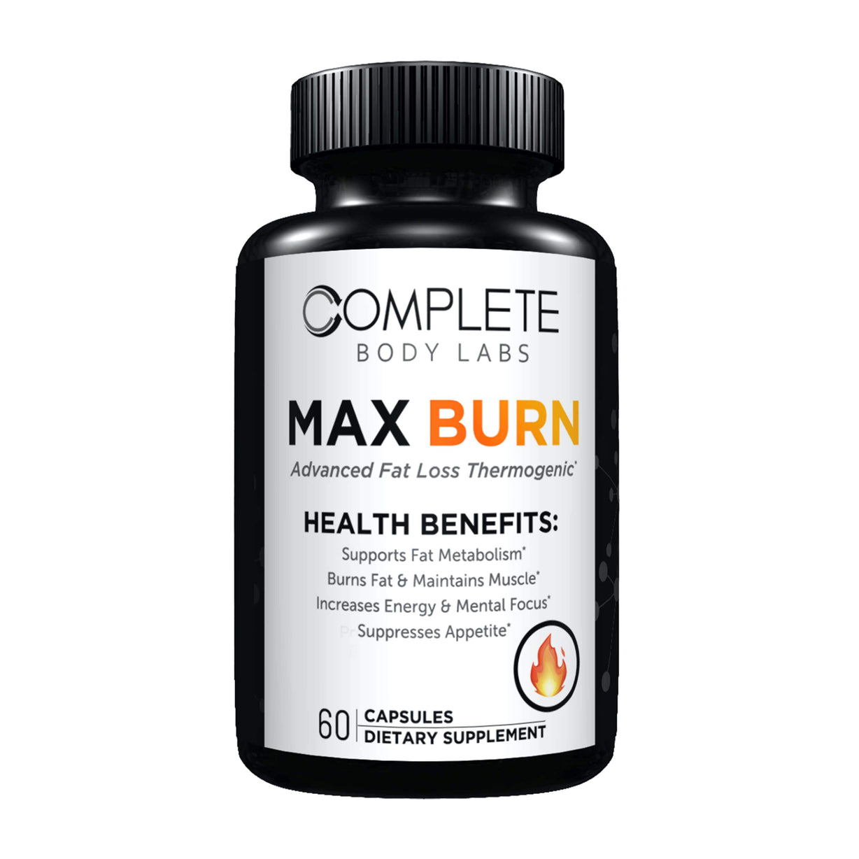 MAX BURN (Advanced Fat Loss Thermogenic) Complete Body Labs | Probiotics, Nootropics, Brain Supplements, Protein Bars, Workout Supplements, Health Supplements, Omega-3 & Essential Vitamins For Men & Women