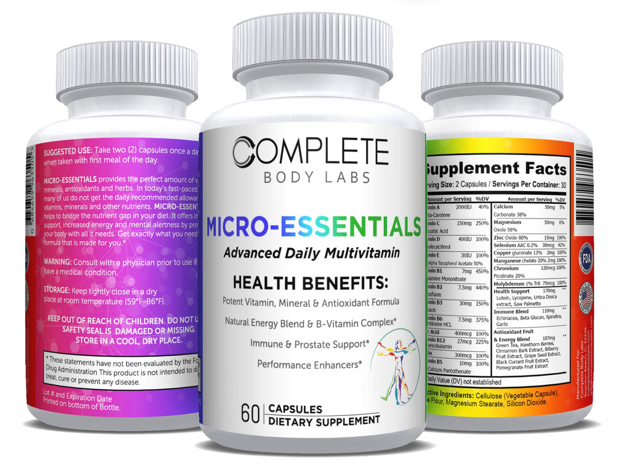 MICRO-ESSENTIALS (Advanced Daily Multivitamin) Complete Body Labs | Probiotics, Nootropics, Brain Supplements, Protein Bars, Workout Supplements, Health Supplements, Omega-3 & Essential Vitamins For Men & Women