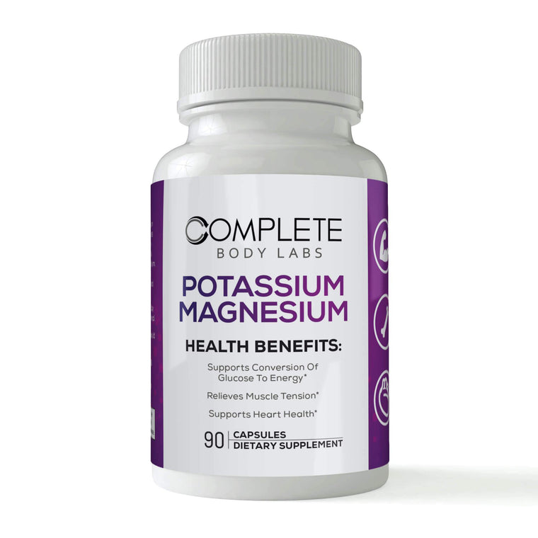 POTASSIUM & MAGNESIUM | Complete Body Labs | Probiotics, Nootropics, Brain Supplements, Protein Bars, Workout Supplements, Health Supplements, Omega-3 & Essential Vitamins For Men & Women