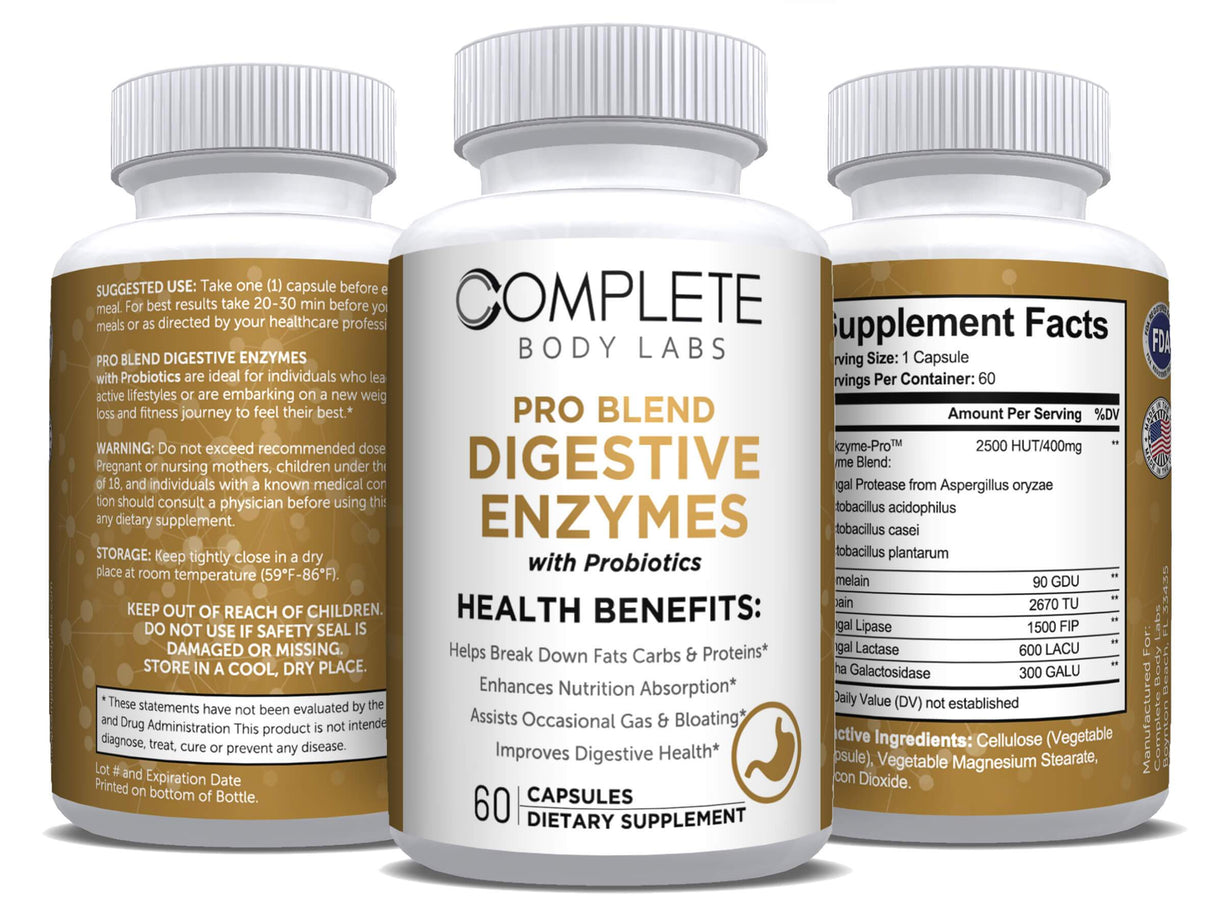 PRO BLEND DIGESTIVE ENZYMES (with Probiotics) Complete Body Labs | Probiotics, Nootropics, Brain Supplements, Protein Bars, Workout Supplements, Health Supplements, Omega-3 & Essential Vitamins For Men & Women