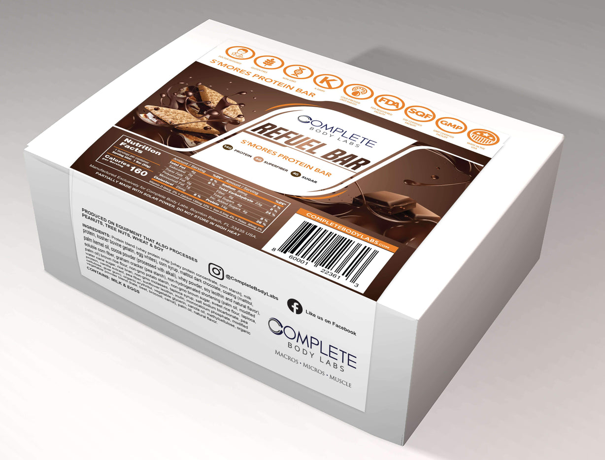 S'mores REFUEL BARS - (10 count) Protein Bar Complete Body Labs