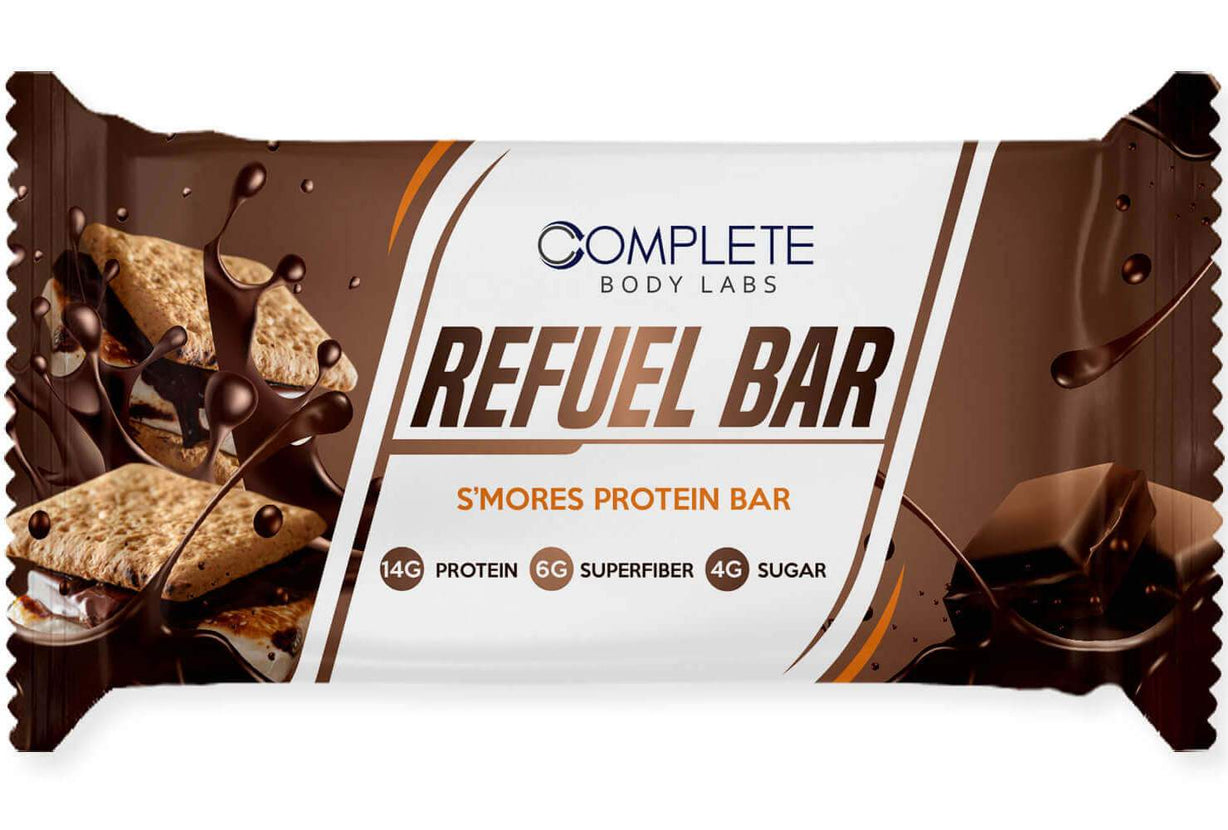 S'MORES REFUEL BARS | Complete Body Labs | Probiotics, Nootropics, Brain Supplements, Protein Bars, Workout Supplements, Health Supplements, Omega-3 & Essential Vitamins For Men & Women