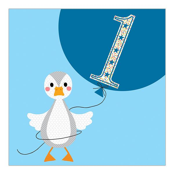 Soul 1st Birthday Card Blue Duck